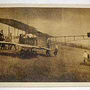 SOLD Vintage Photo Postcard of Bi-Plane Airplane with Men & Boys