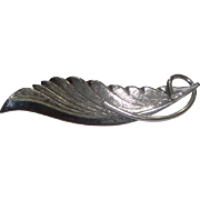 Pretty Sterling Silver Feather Pin with TK or TFK Mark