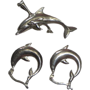 3pc Sterling Silver Dolphin Porpoise Pendant & Earrings