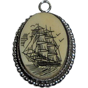 Sterling Silver Pendant Charm with Sailing Ship