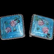 Sterling Silver & Enameled Earrings with Handpainted Roses