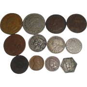 SALE PENDING 12 Old U.S. & Foreign Coins 1864-1977 Indian Head, 2-Cent Piece ++