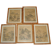 SOLD 5 Vintage Asian Paintings on Fabric - Signed with Wood Frames