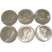 SOLD 6 Silver Kennedy Half Dollar Coins 1964