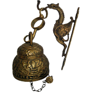 SOLD Vintage Brass Dragon Bracket & Bell with Pelican Lion Eagle (Latin)