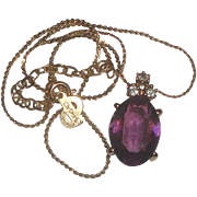 SOLD Christian Dior Germany Goldtone Necklace with Purple Stone Pendant