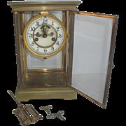 SOLD Vintage Waterbury Crystal Regulator Clock with Porcelain Dial & Nice Pendulum