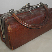 SOLD Very Old Brown Leather Purse with Twist Clasp & Handle