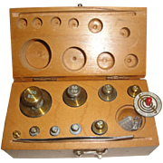 SOLD Old Set of Ohaus Brass Scale Fractional Weights with Wood Box