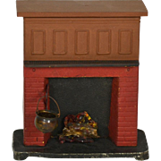 SOLD German Metal Doll House Fireplace, EX