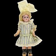 "German Bisque Head Doll, 7"" tall"
