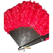 Beautiful Ladies  Flaming Red Feather Fan Free P&I US BUYERS