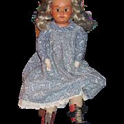 "24"" Large German Celluloid Doll Head w/cloth body Free P&I US Buyers"