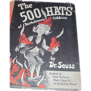 Early Edition Dr Suess 500 Hats of Bartholomew 1938 Vanguard Free P&I US Buyers