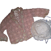 Beautiful Crocheted Pink & White Flowered Sweater & Bonnet for Dy Dee Baby doll & Friends Free