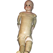 """SOLD 20"""" Unmarked bisque Glass eyes  leather doll body needs TLC Free P&I US Buyers"""