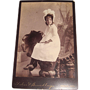Lovely Girl with Parasol bonnet Cabinet Photo Oberlin Ohio Free P&I US Buyers