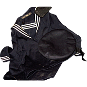SALE 20's 30's  Vintage Child or large Doll Atlantic Sailor Navy Cruise ship outfit Free P&I U