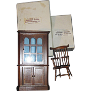 Doll House Miniature Wooden cprner Cupboard & Windsor Chair Bill Muller Telford Pa Free P&I US