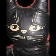 "SOLD 19"" Old Folk Art Oil Cloth Black  oil cloth CAT Free P&I US Buyers"
