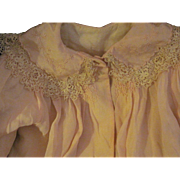 Exquisite Pale Pink Silk & Lace Coat for large bisque china dolls or babies Free P ...