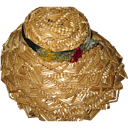 Lovely straw hat for Alexander or China & Bisque Dolls Free P&I US Buyers
