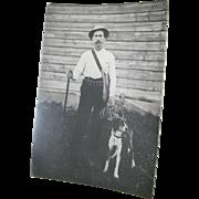 Real photo Mountain Man Hunter & Dog Free P& I US Buyers Free P&I US Buyers
