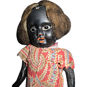 """SOLD Old 8"""" Black Bisque German Doll Free P&I US Buyers - Red Tag Sale Item"""