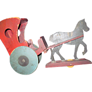 "!2"" x 9"" folk art wooden Horse & Buggy Great for cloth or Amish doll Free ..."
