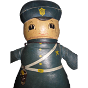 """10"""" Adorable Oilcloth Policeman Doll free P&I US Buyers"""