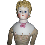 "26"" Beautiful Parian Glass eyes Pierced Ears Doll Shoulder plate damage Free P&I US Buyer"