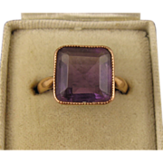SOLD Antique Victorian 9K Rose Gold Big Square Amethyst Ring