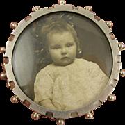 Antique Victorian Large Silver Spring Mechanism Photo Locket Pin - Full English Hallmarks