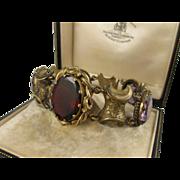 SALE Bold Antique Victorian Paste & Pinchbeck Ornate Bracelet