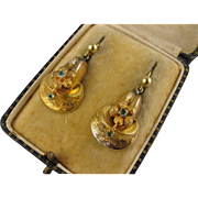 SALE Antique Victorian 15K Gold & Aquamarine 'Forget Me Not' Earrings