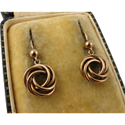 Antique Victorian 9K Rose Gold 'Love Knot' Earrings