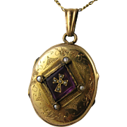 Beautiful Antique 1800s French Pearl, Cross, Purple Paste Locket - Lovely Interior