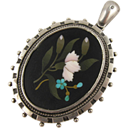 Rare Antique Victorian Silver & Pietra Dura 'Carnation' Locket - Full Engish Hallmarks