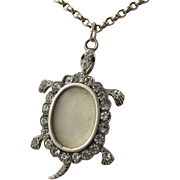 Unusual Antique Edwardian 'Turtle' Silver & Diamond Paste Locket Pendant
