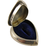 Antique Victorian Silver & Velvet Heart Ring Presentation Box - Full English Hallmarks