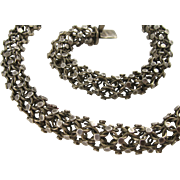 Unusual Antique 1800s Silver Tube Choker Necklace