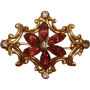 Victorian Simmons Gold Filled Amethyst WATCH PIN