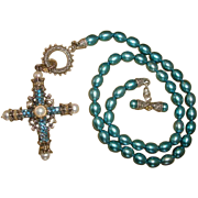 BARBARA BIXBY Sterling Silver & 18K Gold Teal HONORA PEARL Necklace  Gold Blue Topaz / White P