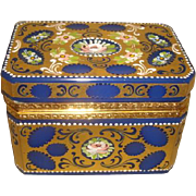 Antique French ENAMELED GILT BLUE Opaline Glass Hinged Casket Box Ormolu Mount