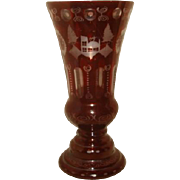 """Large Bohemian Ruby Red Cut to Clear Glass Vase ~ Castle 12"""" Height"""