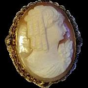 Vintage 12K Gold Filled Hand Carved  Shell CAMEO PENDANT BROOCH Greek Goddess with Curls