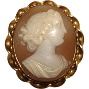 """Vintage Gold Filled Hand Carved Lady SHELL CAMEO Pin Brooch Greek Goddess LARGE 1-3/4"""""""