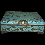 Antique Chinese Export Raised Cloisonne Enamel CIGARETTE or DESK BOX
