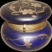 SOLD Art Nouveau Silver Overlay COBALT BLUE Satin Glass Jewelry Box Casket