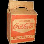 SALE Vintage 1930's COCA-COLA 6 Pack Cardboard Bottle CARRIER ~ Kieckhefer Container